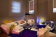 Relative Space flooring, Creation Bauman Eluis throw, Ramon Esteve (Vondom) Faz Sofa and Chaise Lounge, William Lee and et al. Collaborative 'Lean', Stark Carpet rug, Balmond Studio 'Analemma' video, Andrew Yes Galactic pillow balls, Piero Lissoni (Cassina) Mex Table, Dinosaur Design tableware, Paula Hays Crystal Terrarium, Ovando: Floral Design and Event Production candle, William Lee 'Slice', Estiluz Testa floor lamp, Guest Collection designed by Jamie Hayon, Tim Biskup, & Devilrobots for Lladró,  Aranda/Lasch (Johnson Trading Gallery) Modern Primitives, Tom Fruin Neon Fire Place, Thomas Heatherwick (Haunch of Venison) bench 'Billet 3, Extrusion 4'