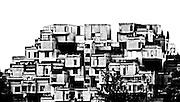 black and white interpretation of the landmark apartment complex, Habitat 67 in Montreal Canada.