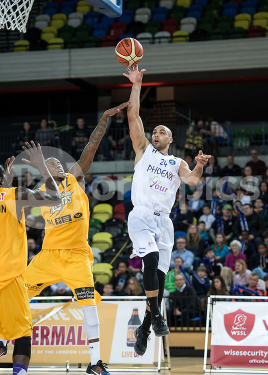 Danny Huffor of Cheshire Phoenix in action during the BBL Championship match between London Lions and Cheshire Phoenix at the Copper Box Arena, London, United Kingdom on 30 March 2016. Photo by Vince  Mignott.