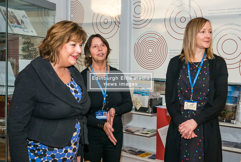 Pictured: Scottish Government Public Libraries Funding Announcement. Culture Minister Fiona Hyslop announces this year's successful bids to the £450,000 Public Library Improvement Fund (PLIF) at the John Grey Centre, Haddington Library, Haddington, East Lothian, Scotland, United Kingdom.  PLIF has been supporting innovative library projects since 2006 which help both individuals and communities. Fiona Hyslop with library staff. 13 December 2018  <br /> <br /> Sally Anderson | EdinburghElitemedia.co.uk