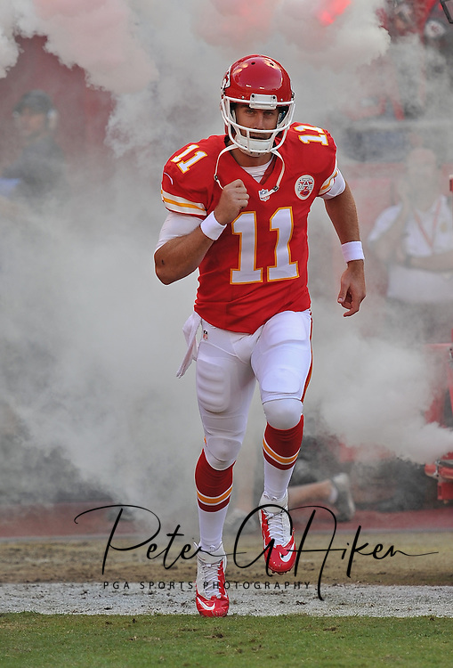 KANSAS CITY, MO - OCTOBER 20:  Quarterback Alex Smith #11 of the Kansas City Chiefs is introduced before a game against the Houston Texans on October 20, 2013 at Arrowhead Stadium in Kansas City, Missouri.  (Photo by Peter G. Aiken/Getty Images) *** Local Caption *** Alex Smith