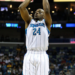 April 6, 2011; New Orleans, LA, USA; New Orleans Hornets power forward Carl Landry (24) against the Houston Rockets during the first half at the New Orleans Arena.   Mandatory Credit: Derick E. Hingle-US PRESSWIRE