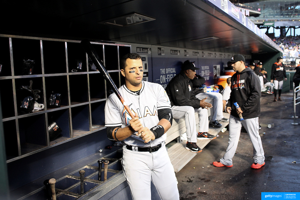 NEW YORK, NEW YORK - APRIL 11: Martin Prado, Miami Marlins, in the dugout preparing to bat during the Miami Marlins Vs New York Mets MLB regular season ball game at Citi Field on April 11, 2016 in New York City. (Photo by Tim Clayton/Corbis via Getty Images)