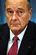 New York, NY,USA, 20030923; French President Jacques Chirac of France addresses the media after his meeting with United States President George W. Bush at the United Nations Headquarters in New York. President Chirac stated that there is still a difference of opinion between the United States and France over the future of Iraq. Photo: Orjan F. Ellingvag/ Dagbladet/ Getty