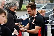 Ryan Fraser (24) of AFC Bournemouth signing his autograph for fans on arrival before the Premier League match between Bournemouth and Crystal Palace at the Vitality Stadium, Bournemouth, England on 7 April 2018. Picture by Graham Hunt.
