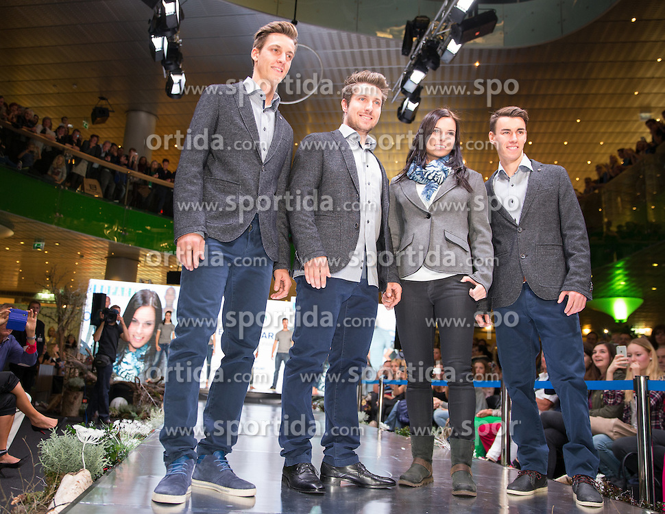 09.10.2015, Europapark, Salzburg, AUT, Praesentation der OeSV Winterkollektion, ??, im Bild v.l. Gregor Schlierenzauer, Marcel Hirscher, Anna Fenninger, Stefan Kraft // during Fashion Show of the Presentation of OeSV winter collection of Austrian Ski Federation OeSV at the Europapark in Salzburg, Austria on 2015/10/09. EXPA Pictures © 2015, PhotoCredit: EXPA/ Johann Groder