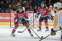KELOWNA, CANADA - OCTOBER 25: Austin Glover #20 of Kelowna Rockets blocks a shot against the Brandon Wheat Kings on October 25, 2014 at Prospera Place in Kelowna, British Columbia, Canada.  (Photo by Marissa Baecker/Shoot the Breeze)  *** Local Caption *** Austin Glover;