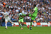 Forest Green Rovers Manny Monthe(3) clears the ball during the Vanarama National League Play Off Final match between Tranmere Rovers and Forest Green Rovers at Wembley Stadium, London, England on 14 May 2017. Photo by Shane Healey.