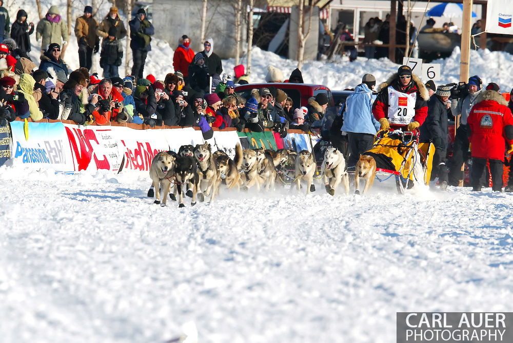 3/4/2007:  Willow, Alaska -  Veteran Mitch Seavey of Seward, AK releases his dogs on the the trail as he begins his quest for Nome in the 35th Iditarod Sled Dog Race