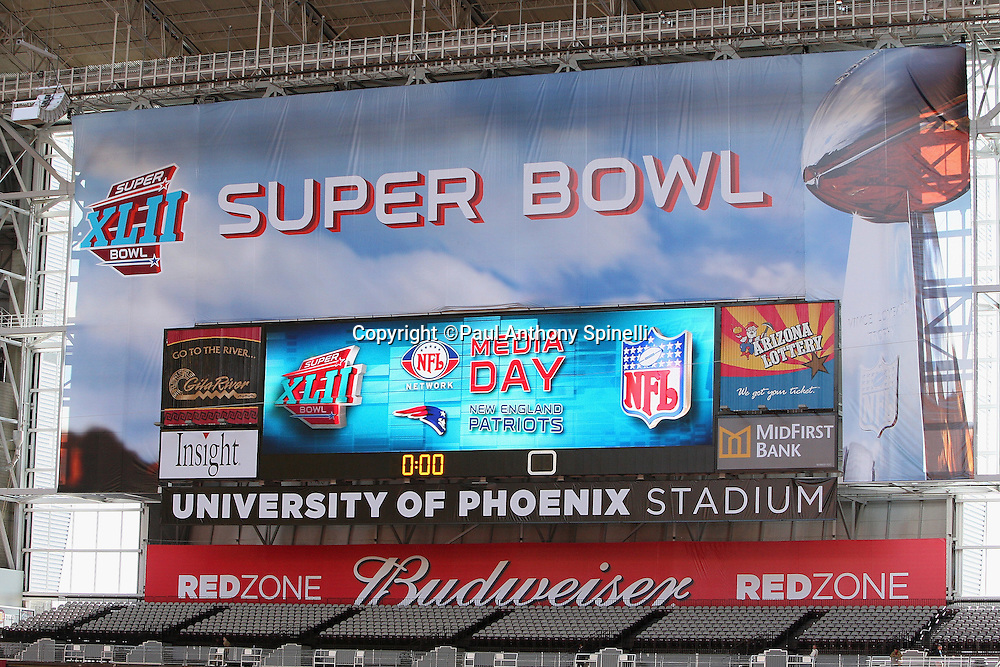 GLENDALE, AZ - JANUARY 29: General view of the scoreboard display at the New England Patriots Super Bowl XLII Media Day at University of Phoenix Stadium on January 29, 2008 in Glendale, Arizona.©Paul Anthony Spinelli