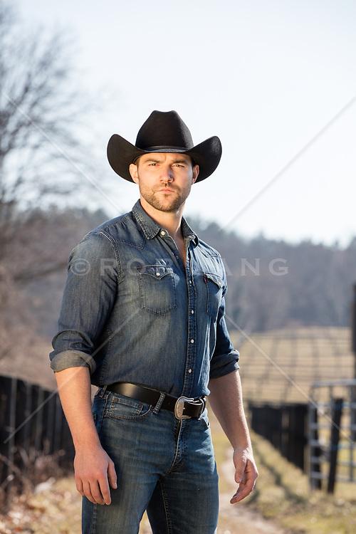 good looking cowboy outdoors