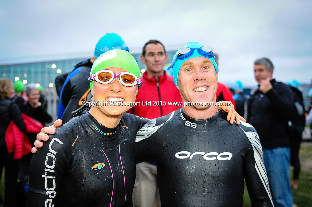 Competitors before the start of the swim at the Sovereign Tri Series, Waterfront, Wellington, New Zealand. Saturday 14 March 2015. Copyright Photo: Mark Tantrum/www.Photosport.co.nz