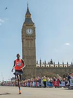 Wilson Kipsang<br /> Elite Men<br /> <br /> The Virgin Money London Marathon 2014<br /> 13 April 2014<br /> Photo: Tom Lovelock/Virgin Money London Marathon<br /> media@london-marathon.co.uk<br /> Big Ben<br /> Houses of Parliament <br /> Parliament Square
