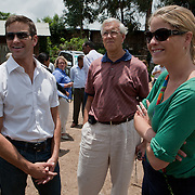 Jenna Bush Hager, Congressman Aaron Schock, and Dr. Richard Schock near the Hades health post during CARE's Learning Tour to Ethiopia. The Learning Tour group met with health extension workers and a marginalized women's communitry group which is comprised of widows and divorcees...Hades is a rural village where the primary economy is agriculture, both cash crop and subsistence. The village has a health post, the first level of care the most basic in the health system.