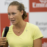 August 19, 2014, New Haven, CT:<br /> Samantha Stosur speaks during the Emirates Airline tennis clinic on day five of the 2014 Connecticut Open at the Yale University Tennis Center in New Haven, Connecticut Tuesday, August 19, 2014.<br /> (Photo by Billie Weiss/Connecticut Open)
