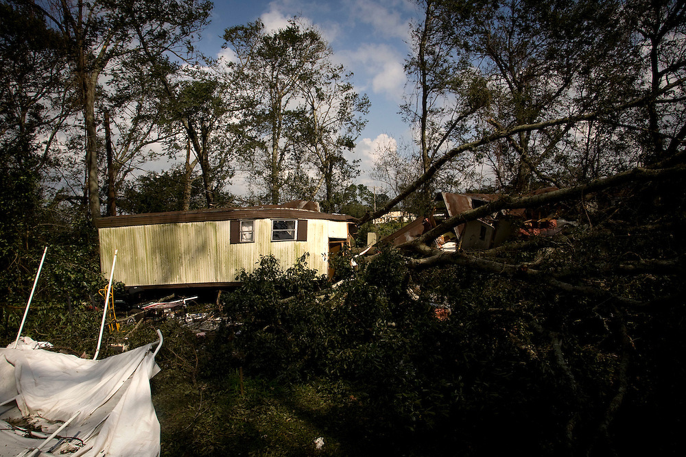 A ruined trailer home is seen on September 2, 2008 , Louisiana. The trailer was ruined when Hurricane Gustav passed through the area the previous day