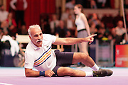 Mansour Bahrami joking on the ground during the Champions Tennis match at the Royal Albert Hall, London, United Kingdom on 6 December 2018. Picture by Ian Stephen.