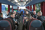 The Forest Green Rovers team and management on the team coach heading for their Wembley Stadium familiarisation trip during the Vanarama National League Play Off Final match between Tranmere Rovers and Forest Green Rovers at Wembley Stadium, London, England on 14 May 2017. Photo by Shane Healey.
