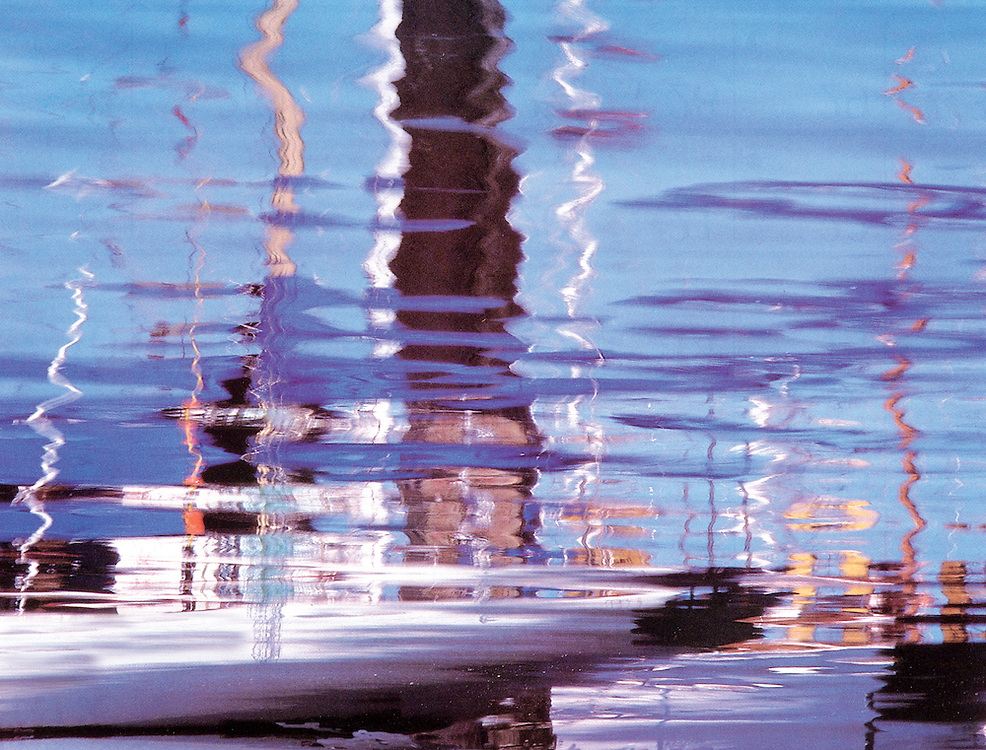 Abstract Sailboat Reflections in Friday Harbor, San Juan Island, Washington State