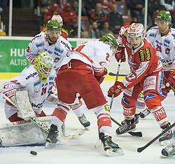 27.09.2015, Stadthalle, Klagenfurt, AUT, EBEL, EC KAC vs HCB Suedtirol, im Bild Hübl Jaroslav (HCB Suedtirol #24), b22, Hofer Roland (HCB Suedtirol #21), Manuel Ganahl (EC KAC, #17), Broda Joel (HCB Suedtirol #26) // during the Erste Bank Eishockey League match betweeen EC KAC and HCB Suedtirol at the City Hall in Klagenfurt, Austria on 2015/09/27. EXPA Pictures © 2015, PhotoCredit: EXPA/ Gert Steinthaler