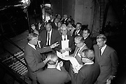 16/06/1967<br /> 06/16/1967<br /> 16 June 1967<br /> Delegates from the XVIth General Assembly of the Federation Internationale des Industries et du Commerce en Gro des Vins, Spiritueux, Eaux-de-Vie, et Liqueurs, sponsored by the Irish Distillers' Association visit John Power and Son Ltd  Distillery at John's Lane, Dublin. <br /> Picture shows: Picture shows Mr Clem J. Ryan (centre left) Production Director, John Power and Son Ltd., Dublin, showing some of the delegates part of the distillery during the visit.
