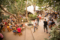 Athens, Greece- September 12, 2014:  A busy late summer day at Six d.o.g.s., a multi-use artistic hub that features a spacious garden cafe and bar as well a space indoors for performances. CREDIT: Chris Carmichael for The New York Times