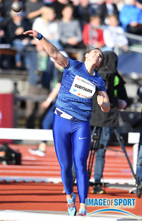 Aliona Dubitskaya (BLR) places sixth in the women's shot put at 60-4¾ (18.41m) during the 54th  Bislett Games in an IAAF Diamond League meet in Oslo, Norway, Thursday, June 13, 2019. (Jiro Mochizuki/Image of Sport)