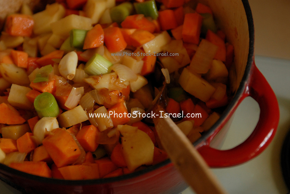 Vegetarian stew simmers in a pot