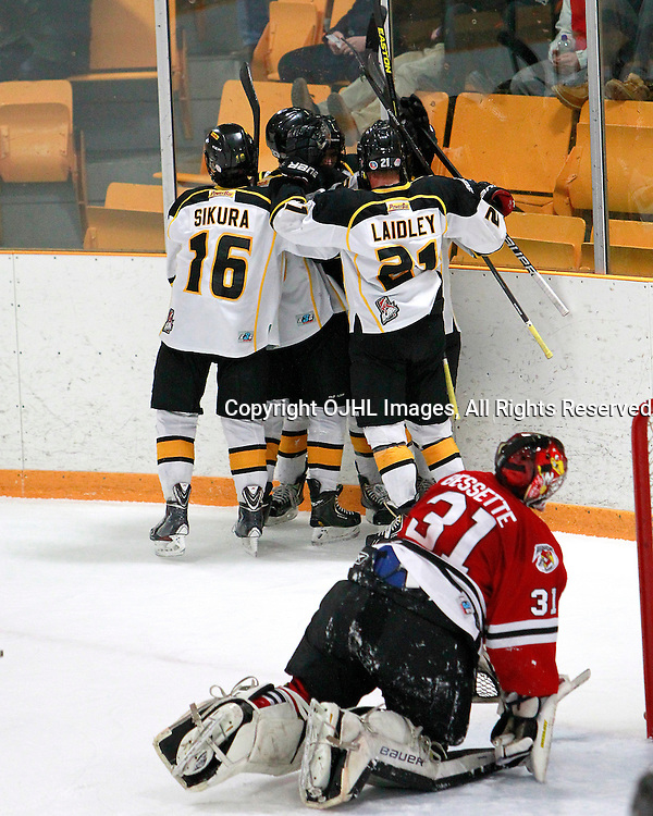 AURORA, ON - Feb 26 : OJHL North East Conference playoff series round one between the Newmarket Hurricanes and the Aurora Tigers, the Aurora Tigers Hockey Club celebrate the goal during second period game action.<br /> (Photo by Brian Watts / OJHL Images)