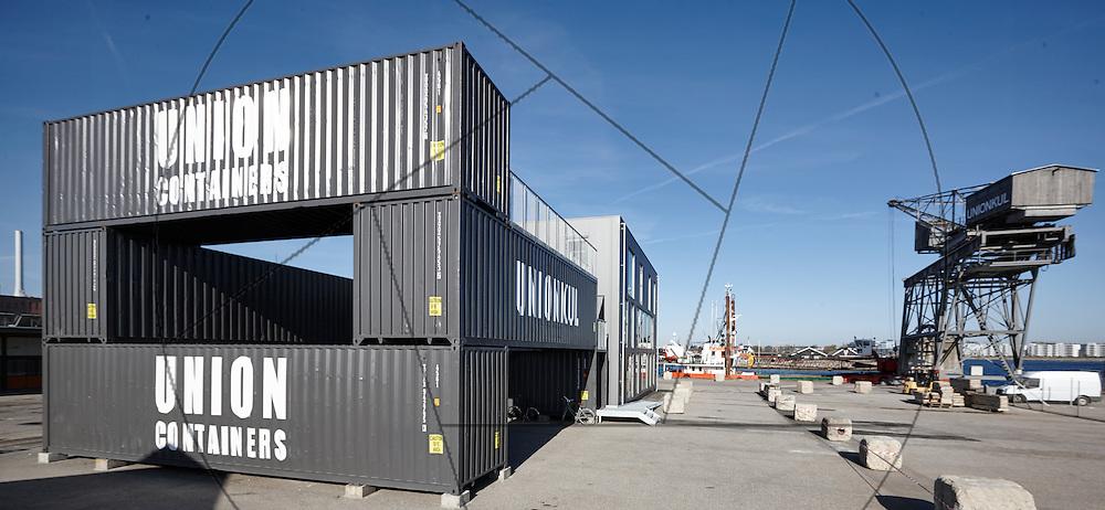 Containerbyen, Nordhavn, genbrugsbyggeri af gamle containere, nybyggeri af kontorlokaler Container Hus, gavl facade