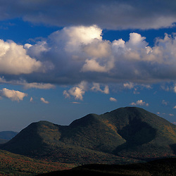 Mount Carrigain as seen from Zeacliff in the White Mountain N.F. Pemigewasset Wilderness Area. Fall.  Appalachian Trail.  Cumulus clouds. Lincoln, NH