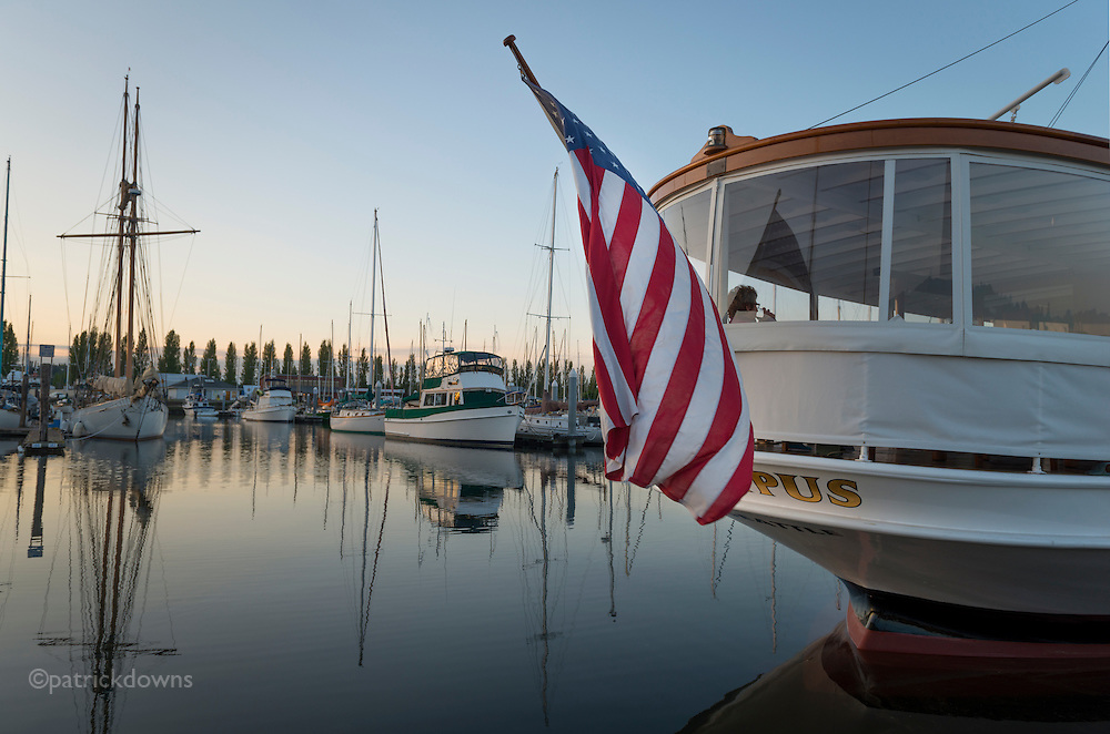 A glass of vino at sunset aboard the classic yacht Olympus, visiting Port Townsend from Seattle.