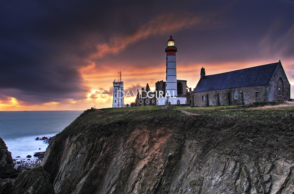 Sunset on the lighthouse of Pointe Saint-Mathieu, Finistere, Bretagne, Brittany, France