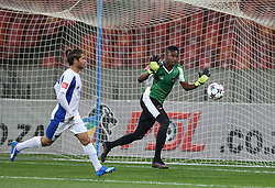 Marc van Heerden of Chippa United (L) and Zama Dlamini of Chippa United during the 2016 Premier Soccer League match between Chippa United and Free State Stars held at the Nelson Mandela Bay Stadium in Port Elizabeth, South Africa on the 23rd August 2016<br />