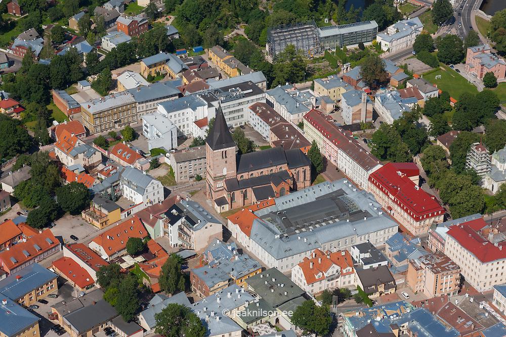 Aerial view of Tartu old town, Estonia. St. John`s church.