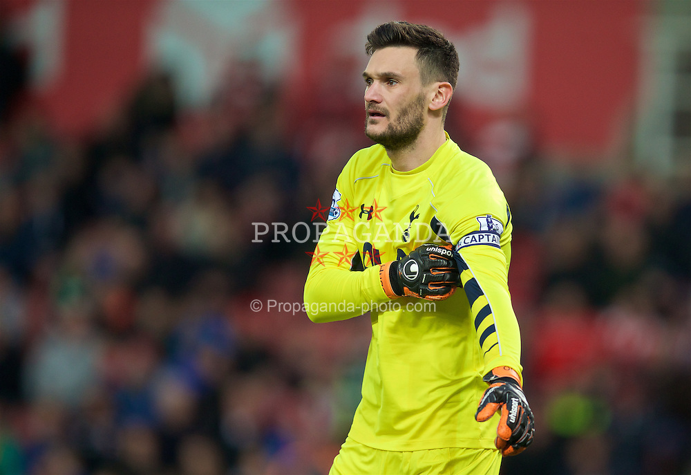 STOKE-ON-TRENT, ENGLAND - Monday, April 18, 2016: Tottenham Hotspur's goalkeeper Hugo Lloris in action against Stoke City during the FA Premier League match at the Britannia Stadium. (Pic by David Rawcliffe/Propaganda)