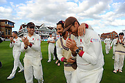 Jack Leach, Peter Trego and Marcus Trescothick of Somerset on the parade around the County Ground after the win over Nottinghamshire in the Specsavers County Champ Div 1 match between Somerset County Cricket Club and Nottinghamshire County Cricket Club at the Cooper Associates County Ground, Taunton, United Kingdom on 22 September 2016. Photo by Graham Hunt.
