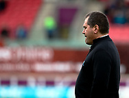 Glasgow Warriors' Head Coach Dave Rennie during the pre match warm up<br /> <br /> Photographer Simon King/Replay Images<br /> <br /> Guinness PRO14 Round 19 - Scarlets v Glasgow Warriors - Saturday 7th April 2018 - Parc Y Scarlets - Llanelli<br /> <br /> World Copyright &copy; Replay Images . All rights reserved. info@replayimages.co.uk - http://replayimages.co.uk