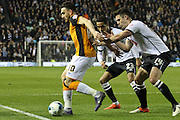 Hull midfielder Robert Snodgrass has no time on the ball during the Sky Bet Championship match between Derby County and Hull City at the iPro Stadium, Derby, England on 5 April 2016. Photo by Aaron  Lupton.