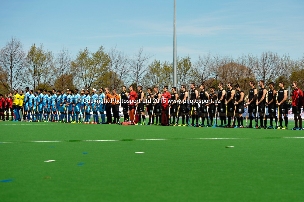 Both teams pre game during the Mens Hockey International, 2015 South Island Tour game between the New Zealand Black Sticks V India, at Marist Park, Christchurch, on the 11th October 2015. Copyright Photo: John Davidson / www.photosport.nz