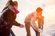Men, Women, Snowball, Throwing, Fun, Enjoyment, Snowy Landscape,