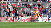 Walsall forward Jordy Hiwula scores during the Sky Bet League 1 match between Walsall and Southend United at the Banks's Stadium, Walsall, England on 16 April 2016. Photo by Chris Wynne.