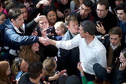 Beto O'Rourke greets students during a campaign stop in State College, PA on March 19, 2019. The candidate from El Paso, TX is the first Democratic candidate to campaign in the Keystone State during a multi-day, multi-state road trip that includes stops in Iowa, Pennsylvania and New Hampshire.