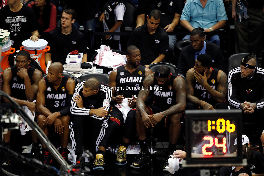 Jun 16, 2013; San Antonio, TX, USA; The Miami Heat bench reacts during the fourth quarter of game five in the 2013 NBA Finals against the San Antonio Spurs at the AT&T Center. San Antonio Spurs won 114-104. Mandatory Credit: Derick E. Hingle-USA TODAY Sports
