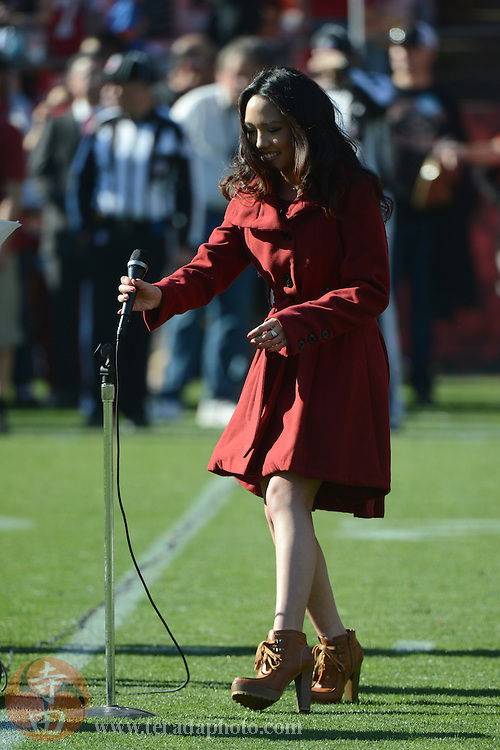 December 1, 2013; San Francisco, CA, USA; Recording artist Thia Megia performs the national anthem before the game against the St. Louis Rams at Candlestick Park. The 49ers defeated the Rams 23-13.
