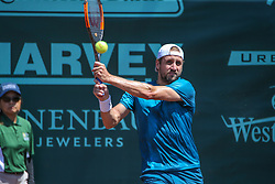 April 11, 2018 - Houston, TX, U.S. - HOUSTON, TX - APRIL 11: Tennys Sandgren (USA) hits a backhand during the second round of the US Men's Clay Court Championship on April 11, 2018 at River Oaks Country Club in Houston, Texas. (Photo by George Walker/Icon Sportswire) (Credit Image: © George Walker/Icon SMI via ZUMA Press)