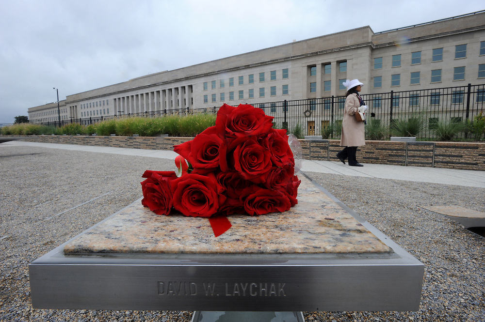 Visitors pay respect to those who lost their lives at the Pentagon on Sept. 11, 2009, a year after the memorial was dedicated.
