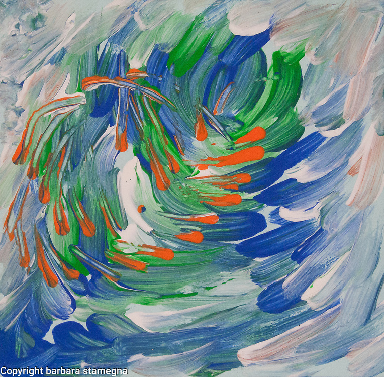 Fluid abstract image with moving orange whirling elements on mottled dynamic background