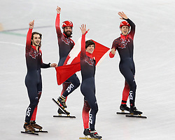 February 21, 2018 - Gangneung, South Korea - The Canada team celebrates winning bronze in the Short Track Speed Skating: Men's 5,000m Relay Final A at Gangneung Ice Arena during the 2018 Pyeongchang Winter Olympic Games. (Credit Image: © Jon Gaede via ZUMA Wire)