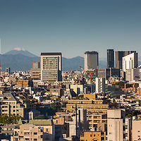 A beautiful fall morning in Tokyo looking out over the city towards Mt. Fuji.  Photo was taken from the Roppongi Hills district of Tokyo.